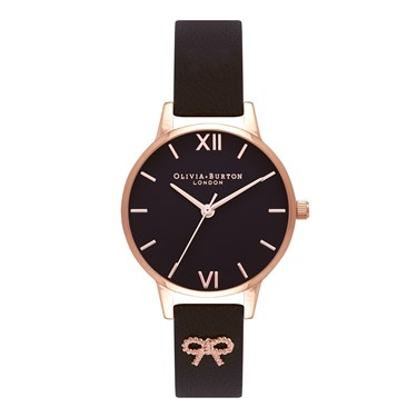 Olivia Burton 3D Vintage Bow Embellished Black Watch  - Click to view larger image