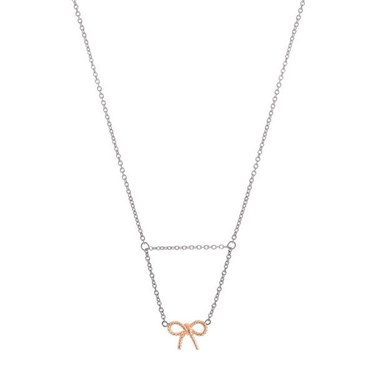 937463795ab0 Olivia Burton Silver   Rose Gold Vintage Bow Drop Necklace - Click to view  larger image