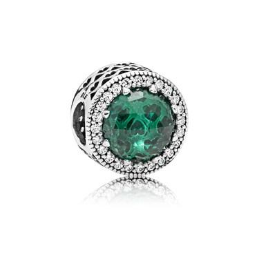 Pandora Green Radiant Hearts Charm  - Click to view larger image