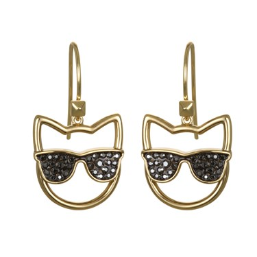 Karl Lagerfeld Gold Sunglasses Choupette Earrings  - Click to view larger image