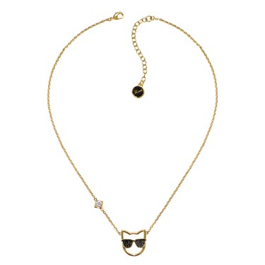 Karl Lagerfeld Gold Sunglasses Choupette Necklace  - Click to view larger image