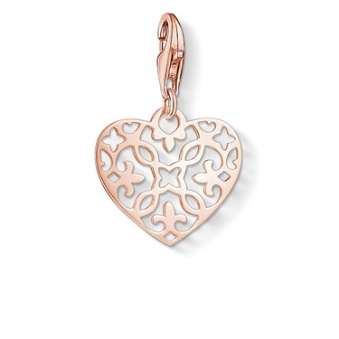 Thomas Sabo Rose Gold Arabesque Heart Charm  - Click to view larger image