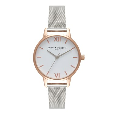 Olivia Burton Midi Rose Gold & Silver Mesh Watch  - Click to view larger image