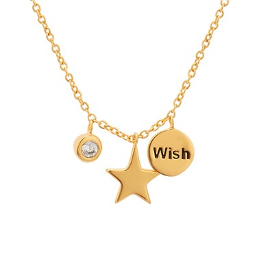 Karma Wish Upon A Star Gold Necklace   - Click to view larger image