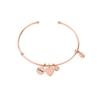 Karma Love Heart Rose Gold Bangle   - Click to view larger image