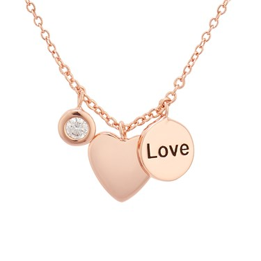 Karma Love Heart Rose Gold Necklace   - Click to view larger image