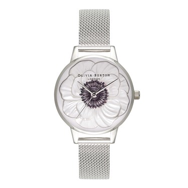 Olivia Burton 3D Anemone Siver Mesh Watch  - Click to view larger image