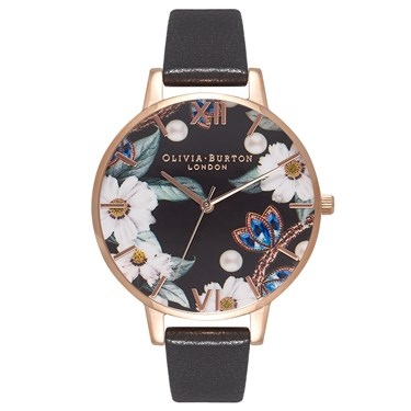 Olivia Burton Bejewelled Florals Black & Rose Gold Watch  - Click to view larger image