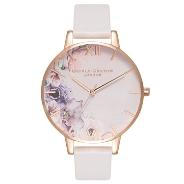 Olivia Burton Watercolour Florals Blush & Rose Gold Watch  - Click to view larger image