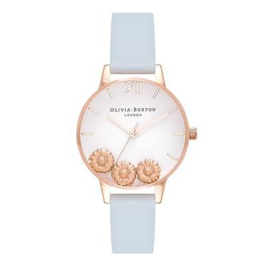 Olivia Burton Dancing Daisy Chalk Blue & Rose Gold  - Click to view larger image
