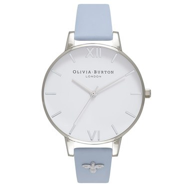 Olivia Burton Embellished Strap Chalk Blue & Silver Watch  - Click to view larger image