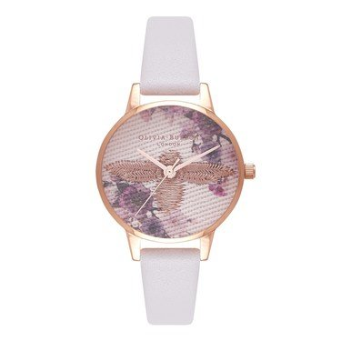 Olivia Burton Embroidered Dial Blush & Rose Gold Watch  - Click to view larger image