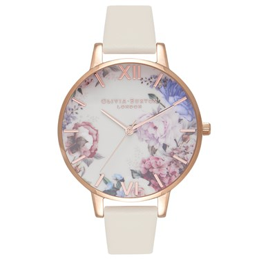 Olivia Burton Enchanted Garden Nude & Rose Gold Watch  - Click to view larger image