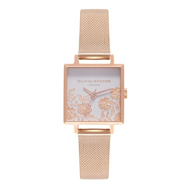 Olivia Burton Square Lace Rose Gold Mesh Watch  - Click to view larger image