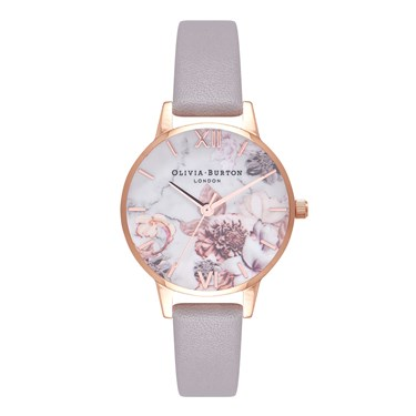 Olivia Burton Marble Floral Grey Lilac & Rose Gold Watch  - Click to view larger image