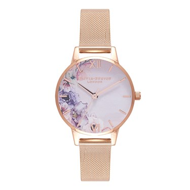 Olivia Burton Watercolour Florals Midi Rose Gold Watch  - Click to view larger image