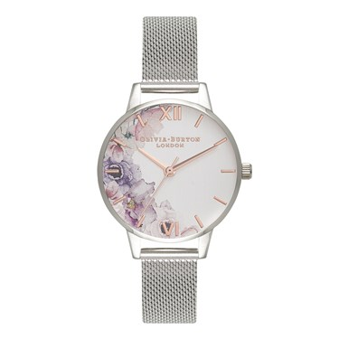 Olivia Burton Watercolour Florals Silver Mesh Watch  - Click to view larger image
