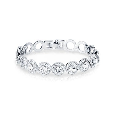 August Woods Silver Crystal Small Circle Link Bracelet   - Click to view larger image