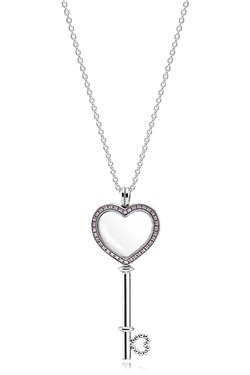 Pandora Pink Floating Locket Heart Key Necklace  - Click to view larger image
