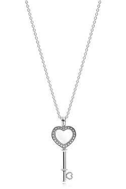 Pandora Floating Locket Heart Key Necklace   - Click to view larger image