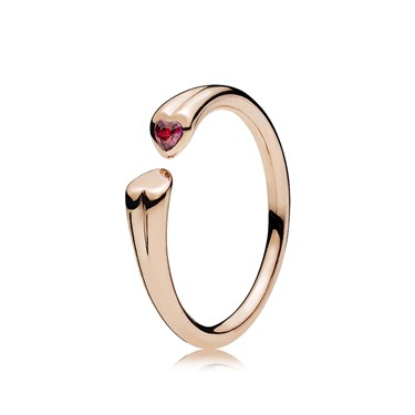 PANDORA Rose Two Hearts Ring  - Click to view larger image