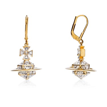 Vivienne Westwood Bessie Orb Gold Drop Earrings  - Click to view larger image