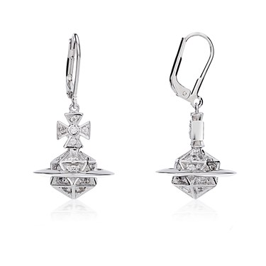 Vivienne Westwood Bessie Orb Silver Drop Earrings  - Click to view larger image