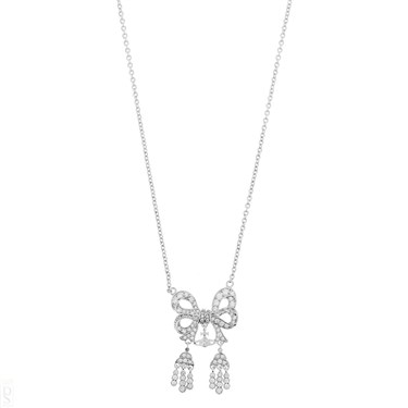 Vivienne Westwood Elinor Small Bow Silver Necklace   - Click to view larger image
