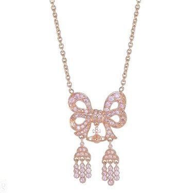 Vivienne Westwood Elinor Small Bow Pink Gold Necklace   - Click to view larger image