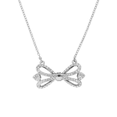 Ted Baker Haven Ornate Pave Bow Silver Necklace  - Click to view larger image