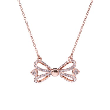 Ted Baker Haven Ornate Pave Bow Rose Gold Necklace  - Click to view larger image