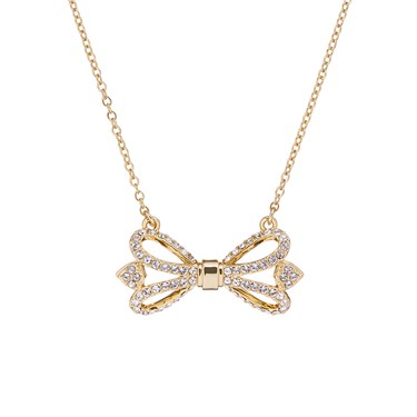 Ted Baker Haven Ornate Pave Bow Gold Necklace  - Click to view larger image