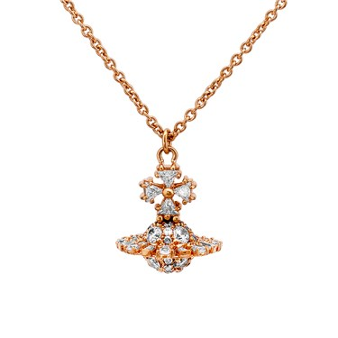 Vivienne Westwood Irina Small Bow Pink Gold Necklace  - Click to view larger image