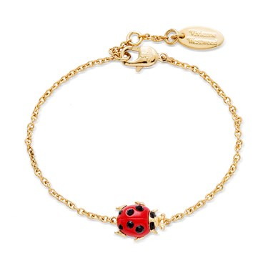 Vivienne Westwood Ladybird Red and Gold Bracelet  - Click to view larger image