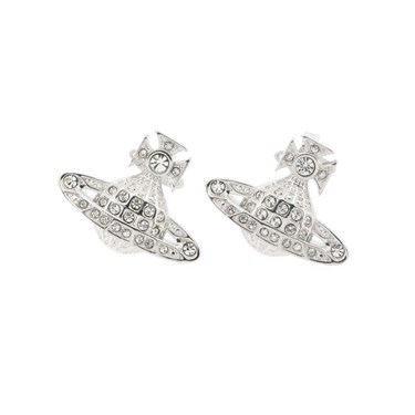 Vivienne Westwood Minnie Bas Relief Orb Silver Earrings  - Click to view larger image