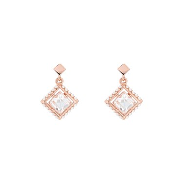 Ted Baker Pasho Pearl Frame Crystal Rose Gold Drop Earrings Click To View Larger Image