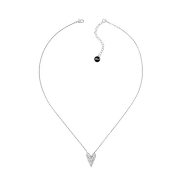 Karl Lagerfeld Silver Pyramid Heart Necklace  - Click to view larger image
