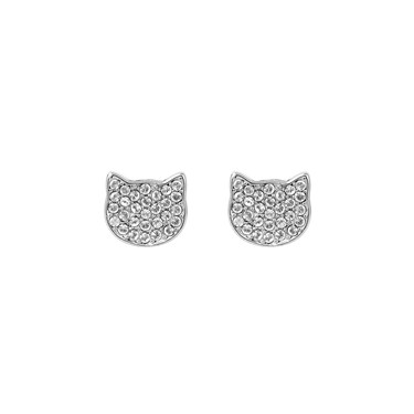 Karl Lagerfeld Silver Choupette Stud Earrings  - Click to view larger image