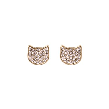 Karl Lagerfeld Rose Gold Choupette Stud Earrings  - Click to view larger image