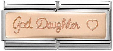 35818c838 Nomination Rose Gold God Daughter Double Charm - Click to view larger image