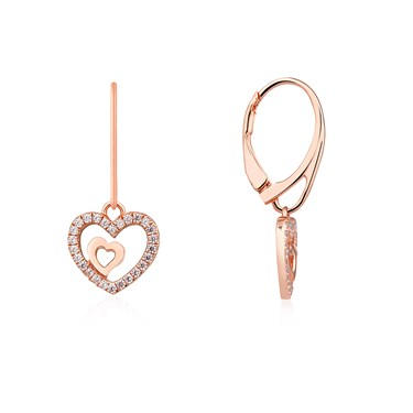 Argento Rose Gold Heart Drop Earrings Click To View Larger Image