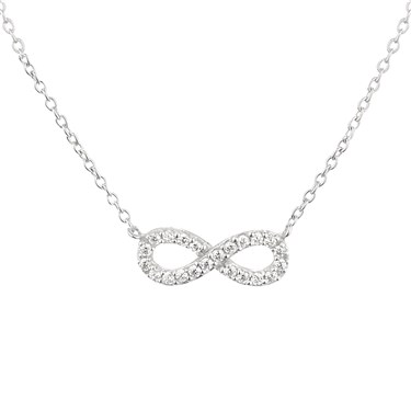 Argento Silver Crystal Infinity Necklace  - Click to view larger image