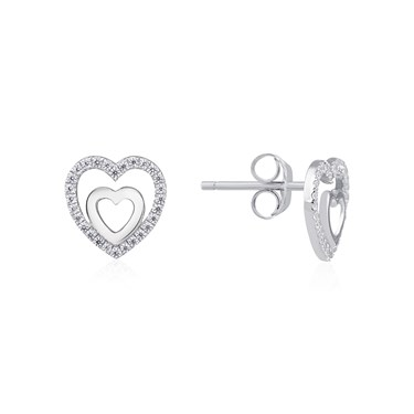 Argento Heart Within a Heart Earrings  - Click to view larger image