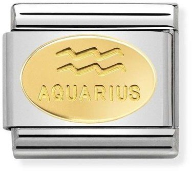 Nomination Gold Aquarius Oval Zodiac Charm  - Click to view larger image