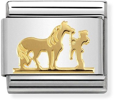 Nomination Gold Horse and Rider Charm  - Click to view larger image
