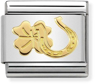 Nomination Gold Horseshoe and Four-Leaf Clover Charm  - Click to view larger image