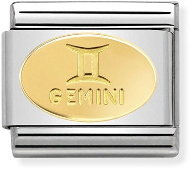 49d3add467179 Nomination Gold Gemini Oval Zodiac Charm   Argento.com