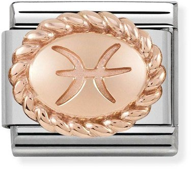 Nomination Rose Gold Pisces Oval Zodiac Charm  - Click to view larger image