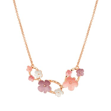 August Woods Blush Circle & Florals Necklace  - Click to view larger image