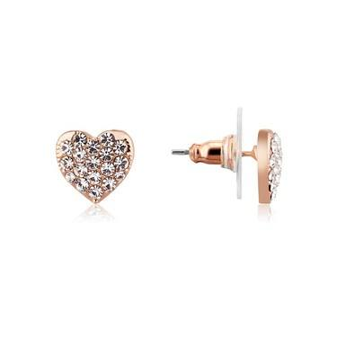 August Woods Rose Gold Crystal Heart Earrings  - Click to view larger image